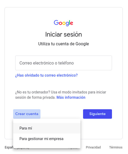 Creación de cuenta de Google My Business