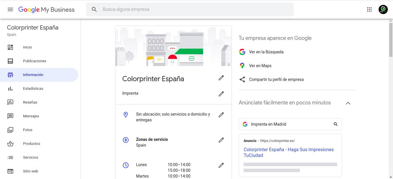 Gestión de cuenta en Google Negocios