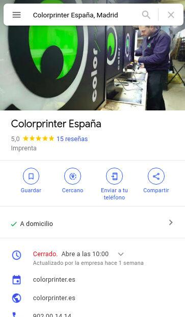 Perfil de empresa optimizado por la cuenta de Google Negocios