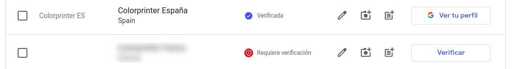 Verificación de cuenta de Google my business
